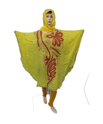 Light Yellow  Color Handmade Poncho Syle Abya With Scarf And Legging