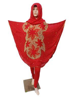 red  COLOR HANDMADE PONCHO SYLE ABYA WITH SCARF AND LEGGING4