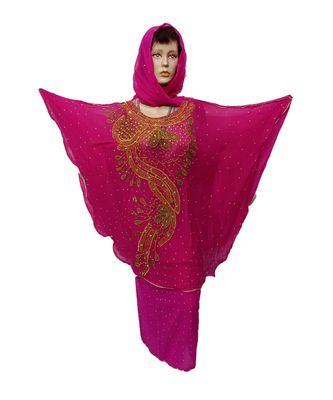 PINK COLOR HANDMADE PONCHO SYLE ABYA WITH SCARF AND WRAPPER