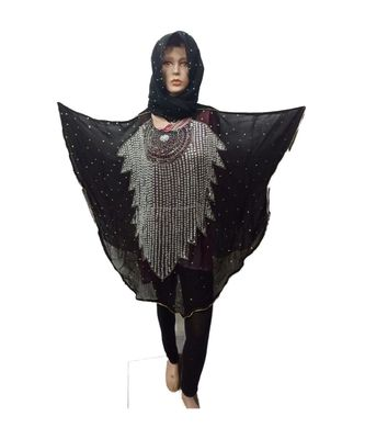 BLACK  COLOR HANDMADE PONCHO SYLE ABYA WITH SCARF AND LEGGING