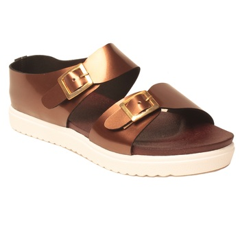 women Synthetic Copper Sandals