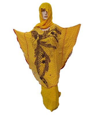 YELLOW COLOR HANDMADE PONCHO SYLE ABYA WITH SCARF AND WRAPPER