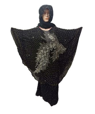 Black Color Handmade Poncho Syle Abya With Scarf And Wrapper