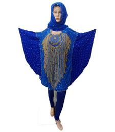 Blue   Color Handmade Poncho Syle Abya With Scarf And Legging