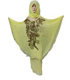 Light Yellow Color Handmade Poncho Syle Abya With Scarf And Wrapper