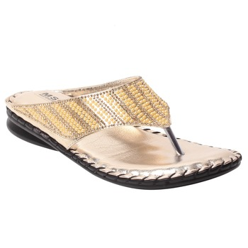 women Gold Synthetic leather Sandals