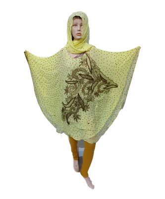 LIGHT  COLOR HANDMADE PONCHO SYLE ABYA WITH SCARF AND LEGGING