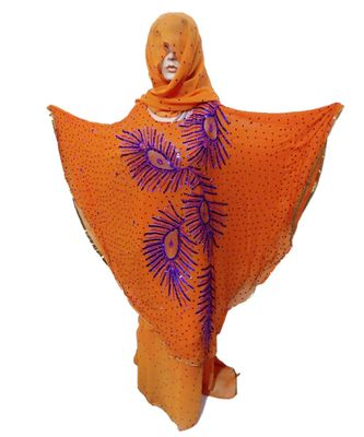 ORANGE  COLOR HANDMADE PONCHO SYLE ABYA WITH SCARF AND WRAPPER