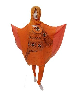 ORANGE   COLOR HANDMADE PONCHO SYLE ABYA WITH SCARF AND LEGGING5