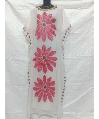 White Color Handmade Abaya