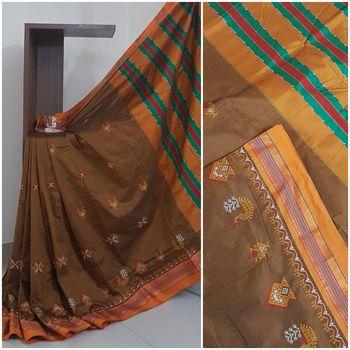 Brown ilkal with traditional kasuti embroidery