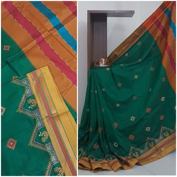 Green ilkal with traditional kasuti embroidery