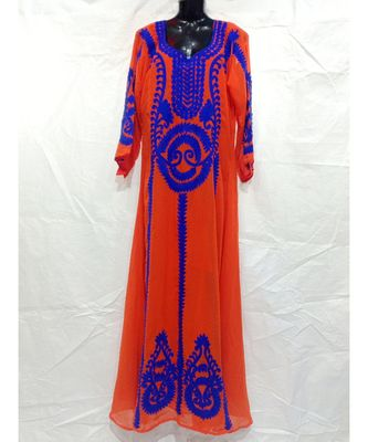 Orange Abaya With Computer Embrodery