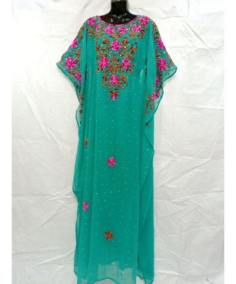 Green Color Embrodery Kaftan
