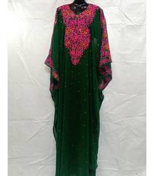 Green Color Embrodery Kaftan