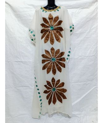 WHITE COLOR HANDMADE ABAYA