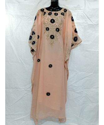 Peach Color Handmade Abaya