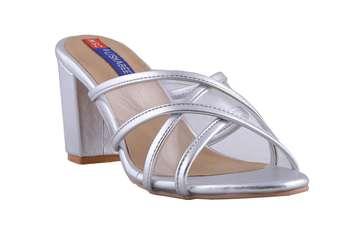 Women Silver slip on  heels sandals