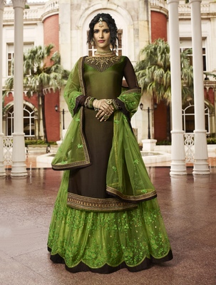 Dark Brown Embroidered Georgette Salwar