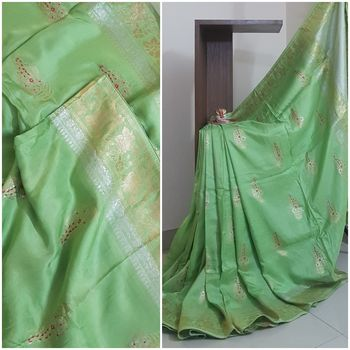 Green pure muga silk benaras brocade