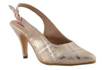 Women Gold Synthetic heels sandals