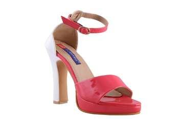 Women Red  block  heel ankle strap  sandals