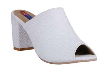 Women White block heel sandals