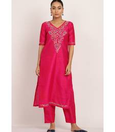 Pink Silk Chikankari kurti with multicolour thread work