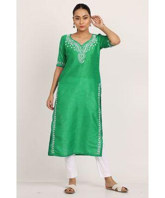 Green Silk Kurti With White Chikankari Work