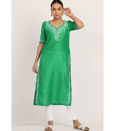 Green Silk Kurti With White Chikankari Work