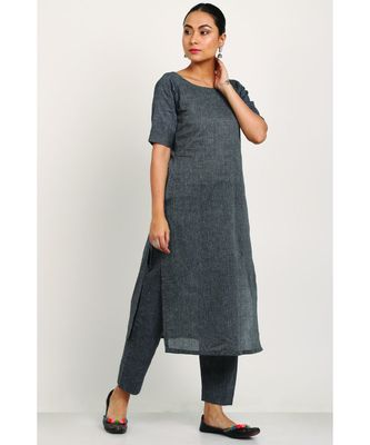 Handloom Dark Grey Kurti With Trousers