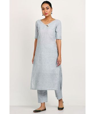 Light Grey Key hole Button Neck Kurti With Trousers