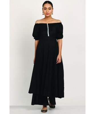 Black Rayon Off Shoulder Dress With Palazzo