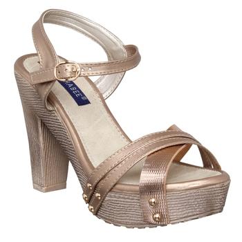 Women gold block heel back strap sandals