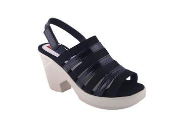 Women  Black back strap block heel sandals
