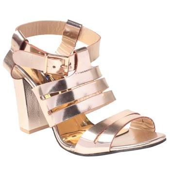 Women  Gold  block Heel sandals