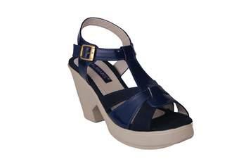 Women  blue suede  block Heels back  strap