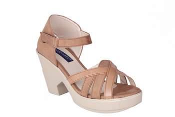 Women brown colored back strap   block heel sandals