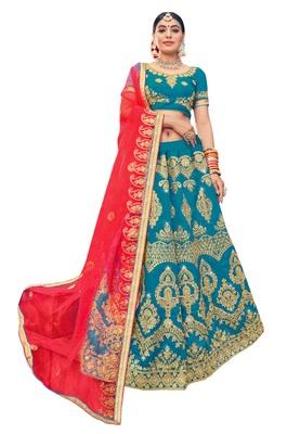 Sky-blue embroidered silk semi stitched lehenga