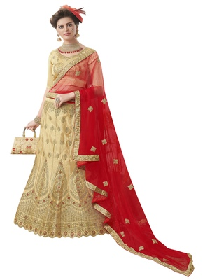 Beige embroidered satin semi stitched lehenga