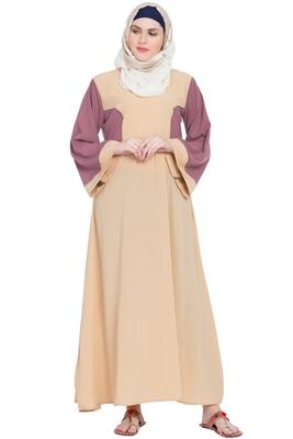 Peach plain nida abaya