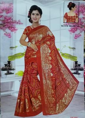 Red woven kota doria saree with blouse