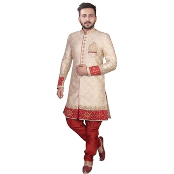 Fawn plain raw silk sherwani