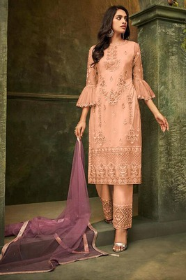 Light-orange embroidered net salwar