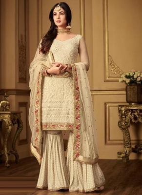 Cream embroidered net salwar