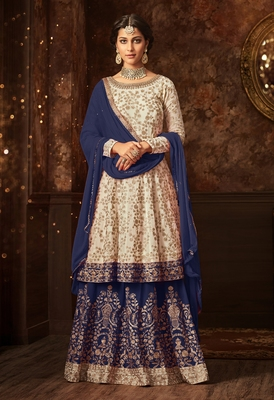 Off-white embroidered georgette salwar