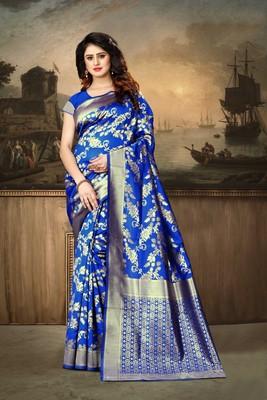 Royal blue woven banarasi silk saree with blouse