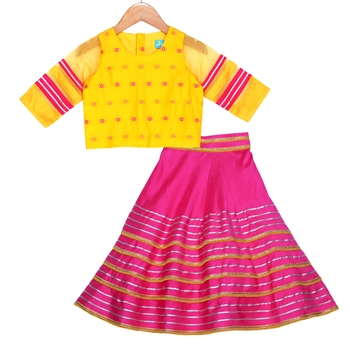 Mustard and fuchsia Embellished Top with Embellished Lehenga