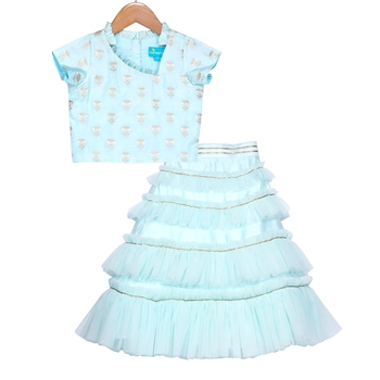 Aqua Blue Ruffled Tiered Tulle Skirt with Crop Top