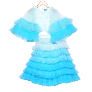 Tulle skirt with Bell Sleeves Crop Top  Ombre Ruffled Tiered